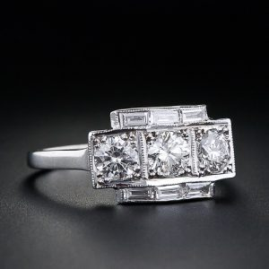 Art Deco Three-Stone Diamond Ring.