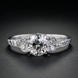 Art Deco 1.02 Carat Cushion Diamond Engagement Ring.