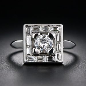 Geometric Art Deco Diamond Ring.