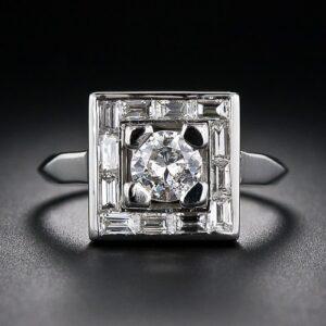 Geometric Art Deco Diamond Ring.