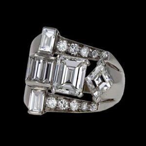 Fine Art Deco Diamond Cocktail Ring.