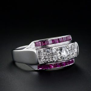 Art Deco Diamond and Ruby Band Ring in Platinum.