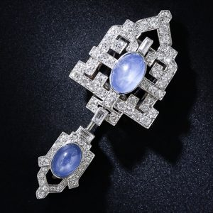 Art Deco Sapphire and Diamond Sûreté or Jabot Pin.
