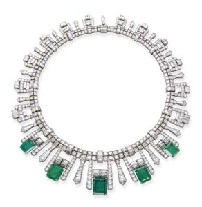Art Deco French Emerald and Diamond Fringe Necklace, c.1925.