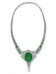 Art Deco Carved Emerald Intaglio and Diamond Necklace, c.1925.