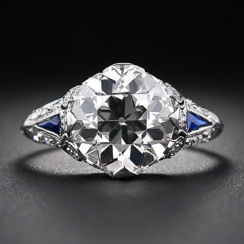 Art Deco European Cut Diamond Sapphire Ring.jpg