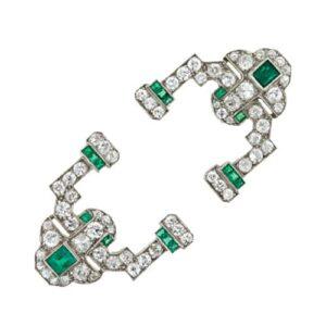 Art Deco Sapphire and Diamond and Emerald Jabot.