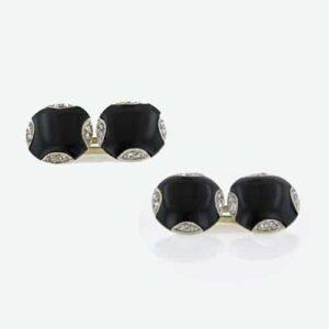 Art Deco Diamond and Onyx Cuff Links.