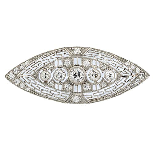 Art Deco Diamond Platinum Brooch with Greek Key Motif.
