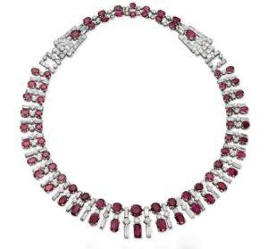 Art Deco Burma Ruby and Diamond Necklace, c.1930.