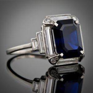 5.00 Carat Art Deco Sapphire and Diamond Ring, circa 1930.