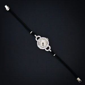 Art Deco Diamond Watch with Cord Bracelet.