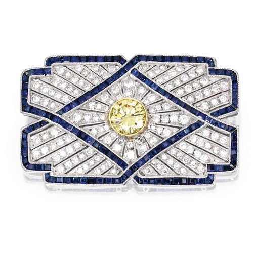 Art Deco Yellow Diamond Sapphire Brooch.jpg