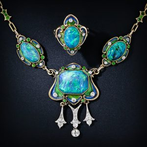 Art Nouveau Black Opal and Enamel Necklace and Ring.