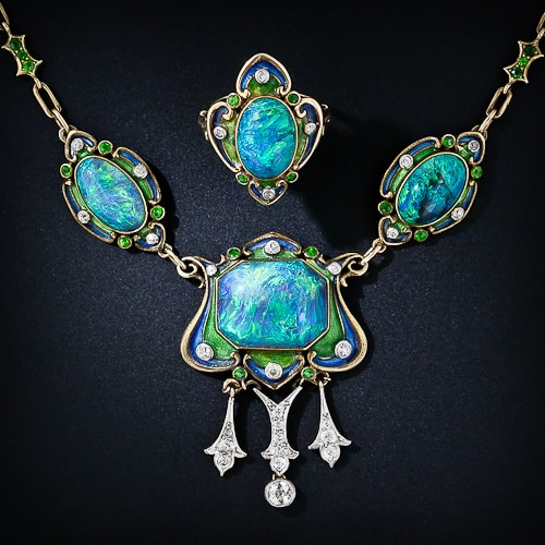 Art Nouveau Black Opal Enamel Necklace and Ring 30-1-1937.jpg