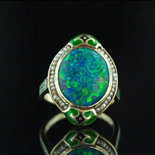 Art Nouveau Black Opal,  Seed Pearl and Enamel Ring.