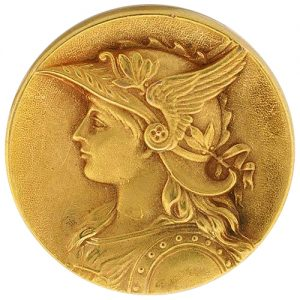 Art Nouveau Gold Medal Jewel - Possibly Depicting Brunhilde.