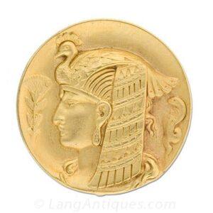 Art Nouveau Gold Cleopatra Medal Watch-Brooch.
