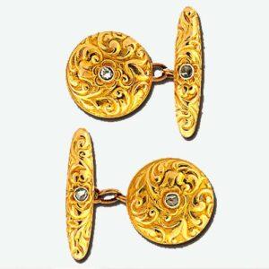 Art Nouveau Diamond, 18K Yellow Gold Scroll Motif Cuff Links.
