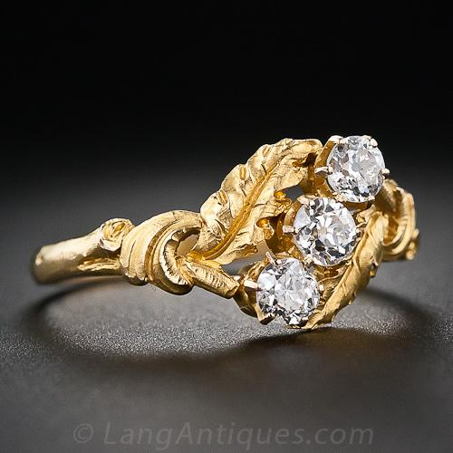 Art Nouveau Three-Stone Diamond and 18k Yellow Gold Leaf Motif Engagement Ring