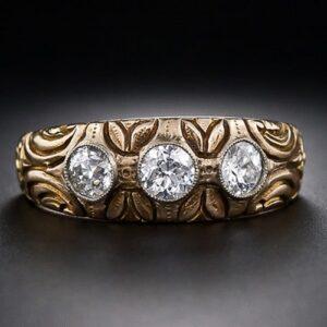 Art Nouveau European-cut Diamond Gypsy Style Ring c. 1900.