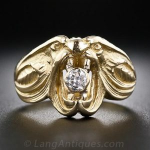 Art Nouveau Stylized Diamond and 18k Yellow Gold Serpent Motif Engagement RIng.