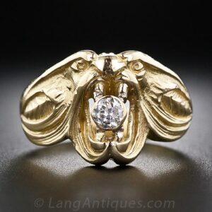 Art Nouveau Stylized Diamond and 18k Yellow Gold Serpent Motif Engagement RIng.