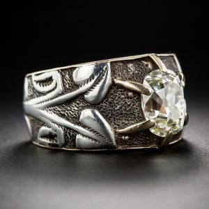 Art Nouveau Cushion-Cut Diamond Floral and Foliate Silver and Yellow Gold Engagement Ring.