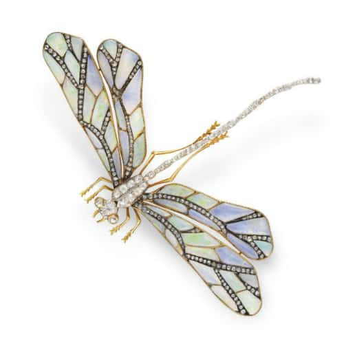 Art Nouveau Opal and Diamond Dragonfly Brooch c1910 CH.jpg