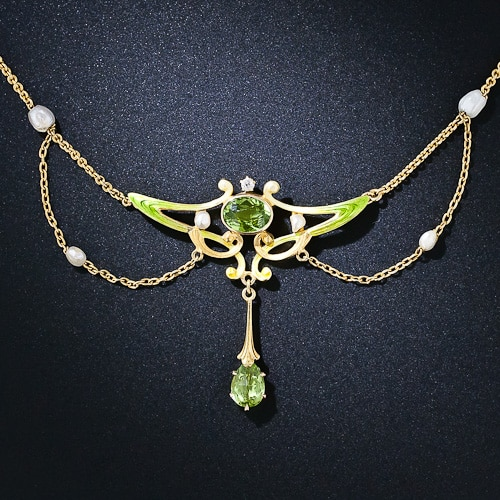 Art Nouveau Peridot Enamel Necklace.jpg