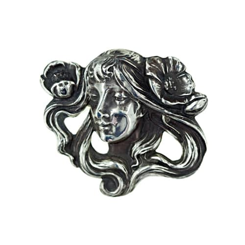 Art Nouveau Silver Girl with Flowers Brooch.jpg