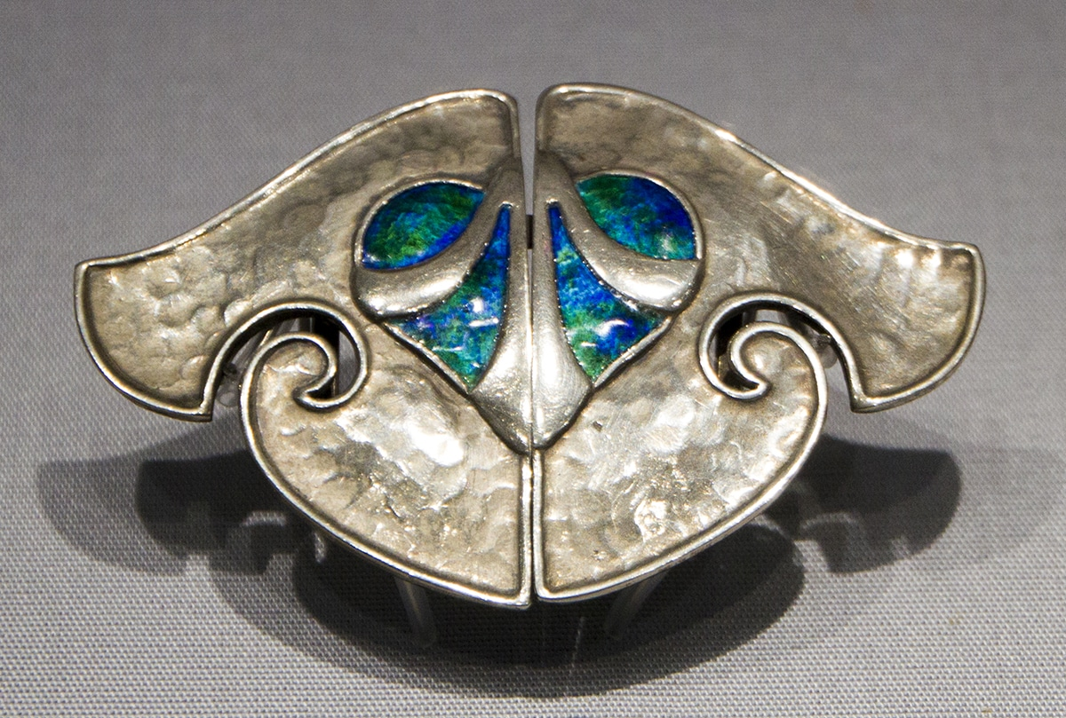 Art Nouveau Silver Hammered Brooch.jpg