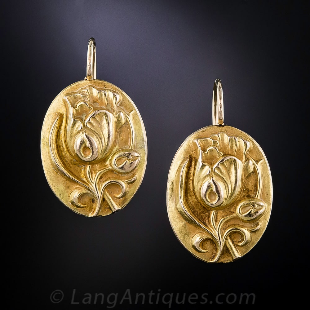Art Nouveau 18k Yellow Gold Repoussé Tulip Blossom Earrings