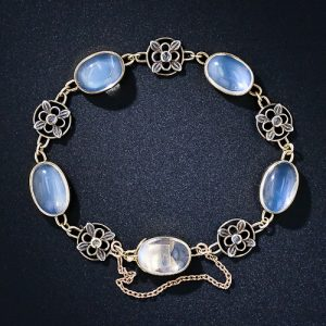 Arts & Crafts Moonstone Bracelet Exhibiting Girasol.