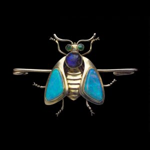 Murrle Bennett & Co. Jugendstil Style Opal, Demantoid, Gold Bug Brooch, c.1902.