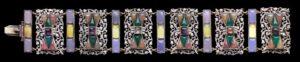 Sibyl Dunlop Arts & Crafts Chalcedony, Amethyst, Silver Bracelet, c.1930.