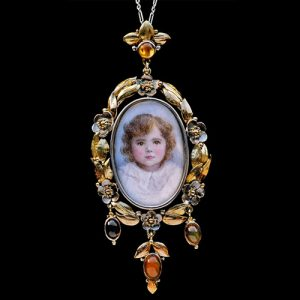 Arts & Crafts Locket with Portrait Miniature, c. 1900.