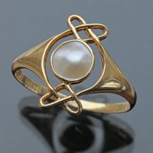 Archibald Knox, Murrle, Bennett & Co. Arts & Crafts Pearl, Gold Ring, c.1900.