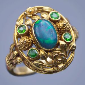 Henry Wilson Arts & Crafts Opal, Demantiod, Gold Ring, c.1900.