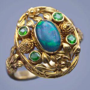 Henry Wilson Arts & Crafts Opal, Demantiod, Gold Ring, c.1900.
