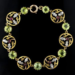 Peridot and Garnet Arts & Crafts Holly Leaf Bracelet c.1900.