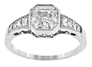 Asscher and French Cut Diamond Ring.jpg