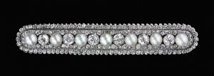 Edwardian Diamond and Pearl Bar Brooch.