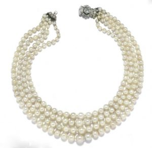 Natural Pearl and Diamond Bavette Necklace. Photo Courtesy of Christie's.