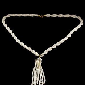 Bayadére Pearl Strand Featuring a Dangling Tassel Set with Old Mine Cut Diamonds.