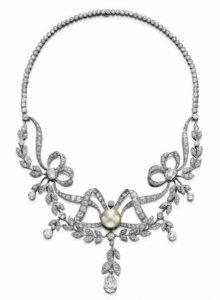 Belle Epoque Diamond and Pearl Necklace c.1910.