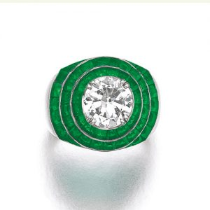 Belperron Emerald and Diamond Ring. With Maker's Marks for Groëné & Darde. Photo Courtesy of Sotheby's.