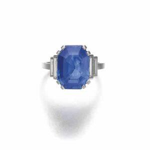 Belperron Sapphire Ring, c. 1943. With Maker's Marks for Groëné & Darde.