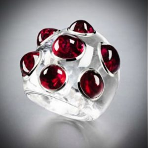 White Sapphire and Red Spinel Ring by Suzanne Belperron.