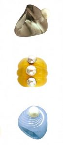 Three Carved Gemstone Sculptural Rings with Pearls by Suzanne Belperron.